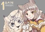 1girl blue_eyes byakko_(xenoblade) clenched_teeth countdown grey_background grin looking_at_viewer nia_(xenoblade) number shadow2810 short_hair silver_hair simple_background smile solo teeth tiger upper_body white_tiger xenoblade xenoblade_2 yellow_eyes