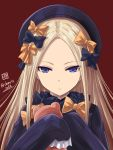 1girl abigail_williams_(fate/grand_order) black_bow black_hat black_shirt blonde_hair blue_eyes bow brown_background closed_mouth expressionless fate/grand_order fate_(series) hair_bow hands_in_sleeves hat haura_akitoshi holding holding_stuffed_animal long_hair long_sleeves looking_at_viewer orange_bow polka_dot polka_dot_bow shirt signature simple_background solo straight_hair stuffed_animal stuffed_toy teddy_bear tsurime twitter_username upper_body