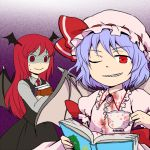 2girls :> ;d bat_wings blood bloody_clothes blue_hair book book_hug bow collared_shirt commentary_request cup dress_shirt empty_eyes eyebrows_visible_through_hair gradient gradient_background hat hat_bow head_wings holding holding_book koakuma long_hair long_sleeves looking_at_another looking_at_viewer mob_cap multiple_girls nail_polish necktie one_eye_closed open_book open_mouth pekamatu red_eyes red_neckwear redhead remilia_scarlet sharp_teeth shirt short_hair simple_background skirt skirt_set smile sweat teacup teeth touhou turn_pale white_shirt wings