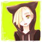 1boy blonde_hair ear_piercing gladio_(pokemon) green_eyes hair_over_one_eye hood hood_up piercing pokemon pokemon_(game) pokemon_sm short_hair solo torn_clothes
