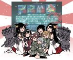 6+girls :d asagumo_(kantai_collection) black_hair black_legwear black_serafuku blush blush_stickers braid brown_hair cannon cherry_blossoms closed_eyes closed_mouth crying dirty_clothes double_bun floral_print full_body fusou_(kantai_collection) green_ribbon grey_hair gun hair_ornament hair_ribbon hair_tie hakama hakama_skirt headband hug hug_from_behind japanese_clothes kantai_collection loafers long_hair long_sleeves low-tied_long_hair machinery medium_hair michishio_(kantai_collection) mogami_(kantai_collection) multiple_girls neckerchief nontraditional_miko nose_blush one_eye_closed open_mouth petals pleated_skirt red_hakama red_neckwear ribbon rigging school_uniform seiza serafuku shigure_(kantai_collection) shoes short_hair short_sleeves single_braid sitting sitting_on_person skirt smile straight_hair tears terrajin torn_clothes turret twintails weapon white_legwear white_ribbon wide_sleeves yamagumo_(kantai_collection) yamashiro_(kantai_collection)