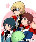 3boys amuro_ray black_hair blonde_hair brown_hair gloves gundam haro kamille_bidan kangetsu_(fhalei) male_focus multiple_boys musical_note quattro_vageena sunglasses zeta_gundam