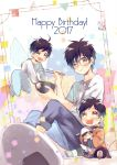 2017 3boys :t animal_hat black_hair blue-framed_eyewear bowl brown_eyes child chopsticks cosplay dog_hat drooling eating fairy_wings food glasses happy_birthday hat ice_skates ichi_kotoko katsudon_(food) katsuki_yuuri male_focus multiple_boys multiple_persona open_mouth pochacco pochacco_(cosplay) sanrio skates smile sweater wings younger yuri!!!_on_ice