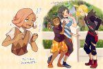 4boys androgynous aoya_(ayoyame18) black_hair blonde_hair blue_eyes dark_skin dark_skinned_male ear_piercing gladio_(pokemon) green_eyes green_hair hair_over_one_eye hau_(pokemon) highres hood hoodie ilima_(pokemon) multiple_boys open_mouth piercing pink_hair pokemon pokemon_(game) pokemon_sm shirt short_hair short_ponytail shorts smile striped striped_shirt sweater_vest t-shirt torn_clothes you_(pokemon_sm)