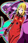1girl bangs blonde_hair blue_eyes bodysuit bright_pupils closed_mouth cowboy_shot facial_mark forehead_mark fusion kumika kumika_no_mikaku light_frown looking_at_viewer monster neon_genesis_evangelion outline parted_bangs pilot_suit plugsuit pointy_ears red_bodysuit s-now short_hair signature souryuu_asuka_langley standing white_outline