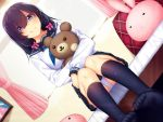 1girl :3 :x bangs bed bed_sheet black_hair black_legwear black_skirt blue_eyes blue_neckwear blush bow bunny_pillow curtains day dutch_angle hair_between_eyes hair_bow hair_ribbon horosuke_(toot08) indoors kneehighs long_hair looking_at_viewer neckerchief on_bed original panties pantyshot pantyshot_(sitting) pink_bow plaid plaid_pillow ribbon school_uniform serafuku shirt sitting skirt smile solo stuffed_animal stuffed_toy teddy_bear toe_scrunch tress_ribbon underwear upper_body upskirt white_panties white_shirt window