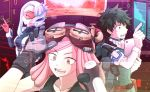+_+ 1boy 2girls boku_no_hero_academia folded_ponytail gloves green_hair hatsume_mei headgear holographic_interface holographic_touchscreen midoriya_izuku miyachi_(yayun) multiple_girls pink_hair sekigai_kashiko silver_hair visor