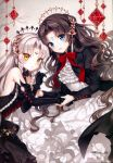 2girls absurdres artist_name bangs bare_shoulders black_dress black_gloves black_hair blue_eyes blush braid breasts dress elbow_gloves eyebrows_visible_through_hair facial_mark forehead_mark frills gloves hair_ornament highres huge_filesize juliet_sleeves long_hair long_sleeves looking_at_viewer multiple_girls nardack open_mouth original page_number parted_lips puffy_sleeves scan simple_background small_breasts tree_branch white_hair yellow_eyes