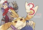 1boy 1girl android bandaid bandaid_on_nose cape countdown goggles goggles_on_head grey_background hana_(xenoblade) nopon number orange_eyes overalls purple_hair red_cape shadow2810 short_twintails simple_background smile tora_(xenoblade) twintails xenoblade xenoblade_2