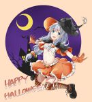 1girl absurdres bat black_legwear blue_eyes breasts capelet crescent_moon eromanga_sensei fujisaki_ribbon gloves hair_ornament halloween_costume happy_halloween hat hat_feather highres izumi_sagiri jack-o'-lantern jack-o'-lantern_hair_ornament jumping long_hair looking_at_viewer midriff miniskirt moon multicolored multicolored_clothes multicolored_legwear navel open_mouth orange_gloves orange_legwear outstretched_arms sarashi shoes silhouette silver_hair skirt small_breasts smile solo striped striped_legwear thigh-highs witch_hat zettai_ryouiki