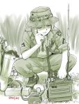 1girl backpack backpack_removed badge bag boots camera closed_eyes ebifly facing_viewer grass hair_between_eyes hat holding holding_phone jacket long_sleeves military original outdoors pants parted_lips phone radio_antenna short_hair soldier solo spread_legs squatting twitter_username