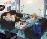 2boys blonde_hair blue_jacket book book_stack computer couch cup elizabeth_(tomas21) glasses handheld_game_console highres jacket jacket_removed laptop lying male_focus mamane_(pokemon) mug mullein_(pokemon) multiple_boys nintendo_3ds on_stomach orange_hair pillow pokemon pokemon_(creature) pokemon_(game) pokemon_sm reaching shirt smile solid_oval_eyes t-shirt table tablet togedemaru whiteboard