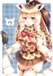 1girl :d absurdres belt black_eyes blonde_hair bow bowtie brown_hair brown_skirt commentary cowboy_shot drill_hair eyebrows_visible_through_hair giraffe_ears giraffe_horns giraffe_print giraffe_tail highres japari_symbol kanzakietc kemono_friends long_hair long_sleeves looking_at_viewer multicolored_hair open_mouth pink_neckwear pleated_skirt print_legwear print_scarf print_shirt rothschild's_giraffe_(kemono_friends) scarf shirt skirt smile solo thigh-highs twin_drills two-tone_hair zettai_ryouiki