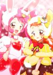 2girls a_la_mode_style_(precure) animal_ears arisugawa_himari bow cake_hair_ornament choker cure_custard cure_whip dress food_themed_hair_ornament gloves hair_bow hair_ornament hand_holding heart kirakira_precure_a_la_mode long_hair looking_at_viewer magical_girl multiple_girls pink_background pink_bow pink_hair precure rabbit_ears red_bow red_eyes shawl smile sparkle squirrel_ears twintails upper_body usami_ichika white_gloves yellow_bow yellow_gloves yuto_(dialique)