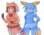 2girls animal_ears bangs blue blue_gloves blue_hair blue_legwear blue_shirt blue_skin blue_skirt bow bowtie common_raccoon_(kemono_friends) elbow_gloves eyebrows_visible_through_hair fang fennec_(kemono_friends) fox_tail fur_collar fur_trim fusion gloves green_eyes head_wings japanese_crested_ibis_(kemono_friends) kemono_friends multiple_girls pleated_skirt puffy_short_sleeves puffy_sleeves raccoon_ears raccoon_tail red red_eyes red_gloves red_shirt red_skirt shirt short_hair short_sleeves simple_background skirt smile standing tail tanaka_kusao thigh-highs v-shaped_eyebrows white_background