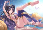 1girl anklet arm_above_head armpits ass barefoot black_hair breasts crown earrings fate/grand_order fate_(series) feet hoop_earrings ishtar_(fate/grand_order) jewelry legs_crossed long_hair medium_breasts reclining red_eyes single_thighhigh soles solo tagme thigh-highs thighs toe-point toes tohsaka_rin yuuki_(yukinko-02727)