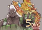 2boys bird copyright_name countdown dark_skin dark_skinned_male grey_background male_focus multiple_boys muscle number overalls pointy_ears scar shadow2810 simple_background suzaku_(xenoblade) upper_body vandham_(xenoblade) white_hair xenoblade xenoblade_2