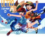 1boy 1girl black_hair blue_shirt blue_sky braid brown_eyes bubble bucket_hat camisole copyright_name elizabeth_(tomas21) floral_print hat holding holding_poke_ball jumping litten long_hair mizuki_(pokemon_ultra_sm) open_mouth orange_shirt poke_ball pokemon pokemon_(creature) pokemon_(game) pokemon_sm pokemon_ultra_sm popplio red_hat release_date rowlet shirt shoes shorts sky sleeveless sleeveless_shirt smile sneakers sun_hat tank_top twin_braids white_shorts you_(pokemon_ultra_sm)