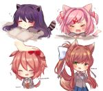 4girls :d absurdres animal_ears arm_up artist_name bangs blazer blue_eyes blue_skirt blush book bow breasts brown_hair cat_ears chibi closed_eyes closed_mouth collared_shirt commentary crying desk doki_doki_literature_club eyebrows_visible_through_hair finger_to_cheek finger_to_face flying_sweatdrops green_eyes grey_jacket hair_bow hair_ornament hairclip happy hashtag highres jacket long_hair long_sleeves looking_at_viewer medium_breasts monika_(doki_doki_literature_club) multiple_girls natsuki_(doki_doki_literature_club) neck_ribbon no_legs open_mouth parted_lips petting pink_eyes pink_hair pleated_skirt ponytail purple_hair red_bow red_neckwear red_ribbon ribbon sayori_(doki_doki_literature_club) school_desk school_uniform shirt short_hair sidelocks signature simple_background skirt sleeping smile tail tears temachii v_arms very_long_hair violet_eyes white_background white_bow white_shirt wing_collar yuri_(doki_doki_literature_club) zzz