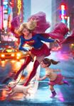 2girls animal ankle_boots blonde_hair blue_shirt blurry blurry_background boots brown_hair building cape car child closed_eyes closed_mouth collarbone commentary dc_comics dog emblem eyeshadow flying full_body green_eyes ground_vehicle hairband highres holding holding_cape holding_leash leash long_hair long_sleeves makeup medium_skirt motor_vehicle multiple_girls neon_lights open_mouth outdoors pink_skirt ponytail purple_footwear purple_hairband realistic red_cape red_footwear red_skirt road running shiny shiny_hair shirt short_ponytail short_sleeves signature skirt smile socks stanley_lau supergirl superhero superman_(series) thigh-highs thigh_boots white_legwear wind yellow_shirt