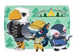 3boys animal apollo_(doubutsu_no_mori) bird boruto_(doubutsu_no_mori) cabbie_hat copyright_name doubutsu_no_mori eagle hammer hat jacket letterman_jacket male_focus miyako_ameko multiple_boys penguin shank_(doubutsu_no_mori) skunk suspenders tree zipper
