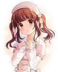 1girl bangs beret blush brown_eyes brown_hair commentary_request earrings eyebrows_visible_through_hair hair_ornament hair_ribbon hat head_tilt highres idolmaster idolmaster_cinderella_girls jewelry long_hair long_sleeves looking_at_viewer ogata_chieri parted_lips pink_ribbon pom_pom_(clothes) puffy_short_sleeves puffy_sleeves ribbon satoimo_chika short_over_long_sleeves short_sleeves sleeves_past_wrists solo twintails white_background white_coat white_hat yellow_ribbon