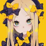 1girl abigail_williams_(fate/grand_order) artist_name bangs black_bow black_hat blonde_hair blue_eyes bow closed_mouth commentary_request eyebrows_visible_through_hair fate/grand_order fate_(series) hair_bow hat head_tilt highres long_hair looking_at_viewer orange_bow parted_bangs polka_dot polka_dot_bow portrait ram_(ramlabo) signature simple_background solo yellow_background
