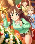 3girls aiba_yumi blonde_hair book box brown_eyes brown_hair christmas_tree closed_eyes flipped_hair gift gift_box green_eyes hair_ornament hairclip himekawa_yuki idolmaster idolmaster_cinderella_girls jewelry multiple_girls necklace nishijima_kai official_art short_hair
