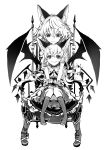 2girls absurdres animal_ears bat_wings boots chair choker closed_mouth commentary_request fang_out flandre_scarlet greyscale hair_between_eyes highres kemonomimi_mode knees_together_feet_apart looking_down miniskirt monochrome multiple_girls no_shoes remilia_scarlet short_sleeves siblings simple_background sisters sitting skirt striped striped_legwear touhou white_background wings wrist_cuffs yutapon