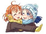 2girls ;d ^_^ ahoge bangs beanie blue_eyes blue_hat blue_scarf cheek-to-cheek closed_eyes coat earmuffs gloves grey_hair hat highres hug love_live! love_live!_sunshine!! multiple_girls one_eye_closed open_mouth orange_hair pom_pom_(clothes) rippe scarf short_hair simple_background smile takami_chika upper_body watanabe_you white_background winter_clothes yellow_gloves yellow_scarf