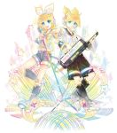 1boy 1girl belt blonde_hair blue_eyes bow detached_sleeves feet full_body hair_bow hair_ornament hairclip headphones headset highres instrument kagamine_len kagamine_rin kei_(keigarou) keytar leg_warmers looking_at_viewer microphone_stand navel necktie official_art outstretched_hand rainbow_gradient ribbon sailor_collar see-through shorts simple_background star toes vocaloid yellow_neckwear