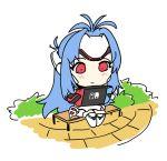 android blue_hair blush chibi cyborg elbow_gloves forehead_protector gloves joy-con kos-mos long_hair nintendo playing red_eyes shadow2810 solo switch xenoblade xenoblade_2 xenosaga