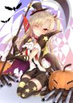 1girl absurdres alternate_costume asymmetrical_legwear azur_lane black_gloves black_legwear blonde_hair bow cape cleveland_(azur_lane) commentary_request cravat devil_fever_(azur_lane) fang gloves halloween halloween_costume haru_(hottikisu25) highres jack-o'-lantern long_hair looking_at_viewer one_eye_closed one_side_up open_mouth pointy_ears scythe short_shorts shorts smile solo