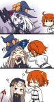 !? 2girls 3koma :d ?? abigail_williams_(fate/grand_order) ahoge bandaid_on_forehead c: comic commentary_request dark_persona fate/grand_order fate_(series) fujimaru_ritsuka_(female) grin hamu_koutarou hat highres holding key keyhole long_hair multiple_girls one_side_up open_mouth orange_hair petting short_hair silent_comic silver_hair smile staff third_eye translation_request violet_eyes white_hair white_skin witch_hat