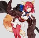 1girl :d animal_ears apron bangs bent_over brown_kimono cosplay fate/extra fate_(series) feet_out_of_frame finger_to_mouth fox_ears fox_tail grey_background hair_ribbon hand_on_hip japanese_clothes kimono kohaku long_sleeves looking_at_viewer maid mo_(mocopo) obi one_eye_closed open_mouth red_legwear redhead ribbon sash short_hair shushing simple_background smile solo standing tail tamamo_(fate)_(all) tamamo_no_mae_(fate) tamamo_no_mae_(fate)_(cosplay) thigh-highs tsukihime wide_sleeves yellow_eyes
