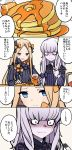 2girls abigail_williams_(fate/grand_order) absurdres albino bangs black_bow blonde_hair blue_eyes blush bow butter comic commentary_request constricted_pupils fate/grand_order fate_(series) food fork hair_bow highres holding holding_fork lavinia_whateley_(fate/grand_order) long_hair multiple_girls open_mouth orange_bow pale_skin pancake pink_eyes smile syrup tearing_up tears translation_request upper_body white_hair yuuma_(u-ma)