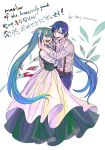 1boy 1girl adam_moonlit aqua_eyes aqua_hair bags_under_eyes belt blood blood_stain blue_eyes blue_hair blue_pants collarbone couple crazy_eyes crazy_smile delusional dress empty_eyes eve_moonlit evillious_nendaiki eye_contact frilled_sleeves frills green_dress hair_ribbon hand_around_neck hand_on_another's_back hand_on_another's_face hand_on_another's_shoulder hatsune_miku highres hug husband_and_wife kaito long_hair looking_at_another moonlit_bear_(vocaloid) open_clothes open_mouth open_shirt pants ribbon rooomi shirt short_hair smile striped striped_shirt suspenders twintails twitter_username very_long_hair vocaloid