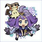 1girl acerola_(pokemon) armlet blue_eyes chibi dress elite_four flipped_hair hair_ornament kingin mimikyu multicolored multicolored_clothes multicolored_dress open_mouth pokemon pokemon_(creature) pokemon_(game) pokemon_sm purple_hair sandals short_hair stitches trial_captain