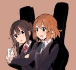 2girls :d :o arm_grab blue_neckwear blue_ribbon blush brown_eyes brown_hair collared_shirt eyebrows_visible_through_hair furrowed_eyebrows grey_jacket guitar_case hair_between_eyes hair_ornament hairclip hirasawa_yui holding instrument_case jacket k-on! long_hair long_sleeves looking_at_another monsieur multiple_girls nakano_azusa neck_ribbon open_mouth parted_lips pink_background red_neckwear red_ribbon ribbon shirt short_hair simple_background smile twintails wing_collar