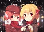 2girls ahoge blonde_hair casual chocolate_bar contemporary earmuffs food hair_ribbon hat highres holding holding_food jacket multiple_girls mystia_lorelei pink_hair red_eyes red_ribbon red_scarf ribbon rumia scarf sh_(562835932) short_hair snowing touhou upper_body