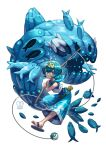 1girl air_bubble blue_eyes blue_hair bubble fishing_rod looking_at_viewer pokemon pokemon_(creature) pokemon_(game) pokemon_sm sa-dui sailor_collar sandals short_hair simple_background suiren_(pokemon) wishiwashi