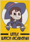 1girl bangs brown_hair crossover cuphead_(game) hat highres kagari_atsuko little_witch_academia long_hair maltierrez parody robe school_uniform smile solo style_parody upper_body witch_hat yellow_background