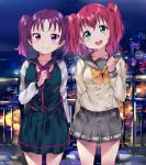 2girls :d arm_at_side bangs bow bowtie city_lights clenched_hand collarbone cowboy_shot double-breasted green_eyes hand_up head_tilt highres kazuno_leah kurosawa_ruby long_sleeves looking_at_viewer love_live! love_live!_sunshine!! multiple_girls neckerchief night night_sky open_mouth pleated_skirt purple_hair railing redhead school_uniform serafuku skirt sky smile tem10 twintails two_side_up uranohoshi_school_uniform violet_eyes yellow_neckwear