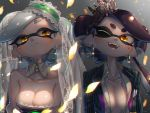 +_+ 2girls aori_(splatoon) black_hair blush breasts center_opening crown detached_collar detached_sleeves domino_mask dress earrings fangs food food_on_head formal highres hotaru_(splatoon) jewelry kashu_(hizake) large_breasts long_hair mask medium_breasts mole mole_under_eye multiple_girls object_on_head pinstripe_suit pointy_ears smile splatoon splatoon_1 strapless strapless_dress striped suit sushi tentacle_hair