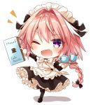 1boy ;d alternate_costume apron astolfo_(fate) black_bow black_legwear blush bow bowtie braid chibi cup enmaided eyebrows_visible_through_hair fang fate/apocrypha fate_(series) frills garter_straps hair_bow long_braid long_hair long_sleeves looking_at_viewer maid maid_apron maid_headdress male_focus menu one_eye_closed open_mouth pink_hair simple_background smile solo teacup teapot thigh-highs trap violet_eyes white_background