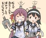 2girls akebono_(kantai_collection) bell black_hair blue_sailor_collar blue_skirt commentary_request flower hair_bell hair_flower hair_ornament headband holding jingle_bell kantai_collection long_hair machinery multiple_girls open_mouth otoufu pleated_skirt purple_hair red_flower sailor_collar school_uniform serafuku short_sleeves side_ponytail skirt smile translation_request ushio_(kantai_collection) white_headband