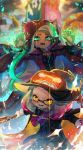 2girls animal_ears cephalopod_eyes corset cravat dark_skin domino_mask fang fangs green_eyes halloween hat highres hime_(splatoon) iida_(splatoon) kashu_(hizake) looking_at_viewer mask mole mole_under_mouth multicolored multicolored_hair multicolored_skin multiple_girls octarian pants paws pink_pupils pointy_ears pumpkin_hat splatoon splatoon_2 suction_cups suit_jacket tentacle_hair tiara vampire werewolf white_hair wolf_ears yellow_eyes