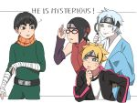 ? adjusting_eyewear bandage black_hair blonde_hair blue_eyes blue_hair boruto:_naruto_next_generations bowl_cut detached_sleeves glasses headband japanese_clothes looking_at_another magnifying_glass metal_lee mitsuki_(naruto) naruto one_eye_closed pale_skin sleeves_past_wrists smile sweatdrop uchiha_sarada uzumaki_boruto yellow_eyes