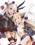 2girls ;d amatsukaze_(kantai_collection) arm_up ass blonde_hair blush breasts brown_eyes crop_top dress elbow_gloves fang garter_straps gloves grey_eyes hairband hat highleg highleg_panties highres kantai_collection long_hair microskirt midriff mini_hat multiple_girls navel one_eye_closed open_mouth panties pleated_skirt rigging shimakaze_(kantai_collection) short_dress side-tie_panties silver_hair simple_background skirt small_breasts smile string_panties takanashi_kei_(hitsujikan) thigh-highs two_side_up underwear white_background white_gloves