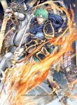 1boy aqua_eyes armor blue_armor blue_cape cape commentary_request company_name copyright_name embers ephraim fire fire_emblem fire_emblem:_seima_no_kouseki fire_emblem_cipher gem gloves greaves green_hair holding holding_spear holding_weapon indoors male_focus official_art pants polearm serious solo spear stained_glass weapon white_gloves white_pants yamada_koutarou